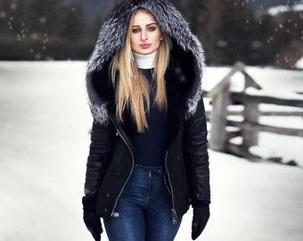 0504fab24f859 Jess black cropped leather sheepskin lined jacket
