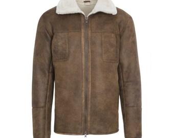 3646fb73e4 Men s chestnut aviator sheepskin coat