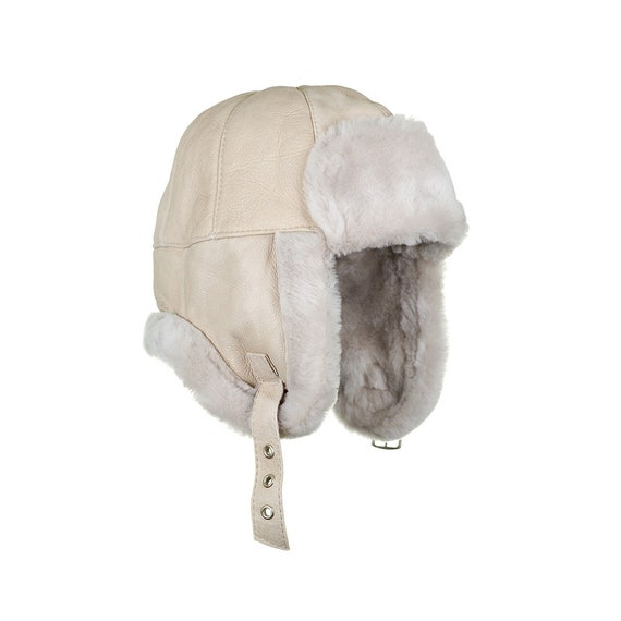 e8bd1c497877e Childrens beige Sheepskin Aviator Hat