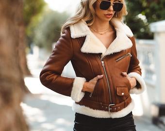 Womens Chestnut Aviator Shearling Jacket