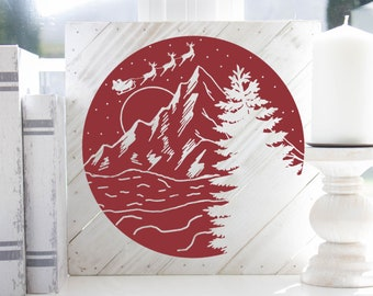 Scenic Christmas in the Mountains SVG File
