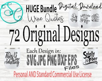 SVG Wine Glass Sayings Wine Quotes Large Bundle
