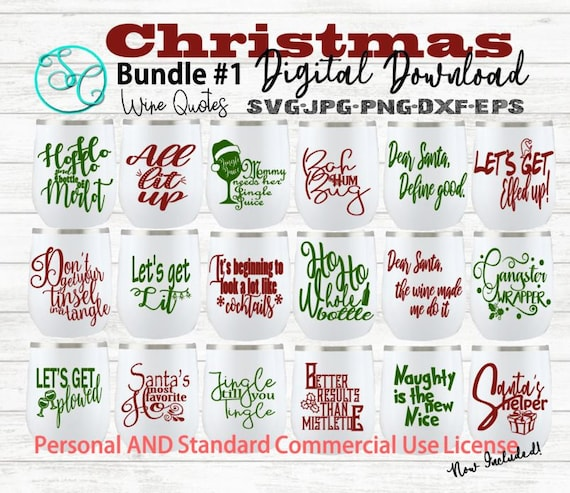 Christmas Funny Wine Glass Quotes Sayings Svg Bundle Personal And Standard Commercial Use