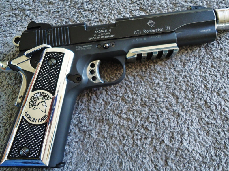 Molon Labe 1911 pistol Grips CNC Machined Polished 6061 Aluminum Colt,  Kimber, Remington, Ruger, Smith & Wesson, Springfield Armory + others