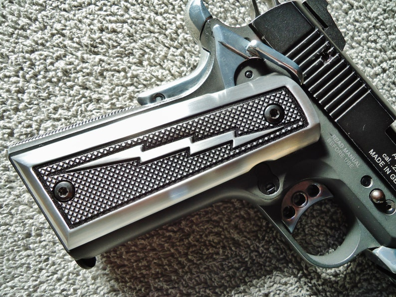 1911 Grips Lightning Bolt CNC Machined Satin Aluminum Colt, Kimber,  Remington, Ruger, Smith & Wesson, Springfield Armory, Sig Sauer + others