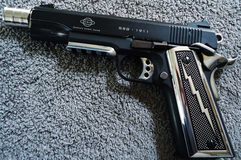 Lightning Bolt 1911 pistol Grips CNC Machined Polished Aluminum Colt,  Kimber, Remington, Ruger, Smith & Wesson, Springfield Armory + others
