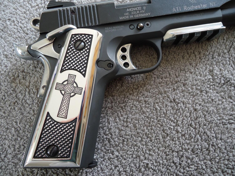 1911 Grips Celtic Cross CNC Machined Polished Aluminum Colt
