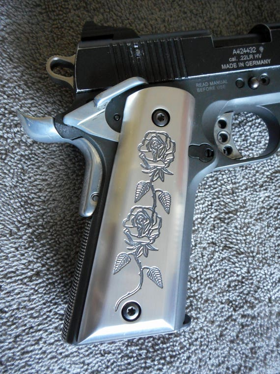 Negro rosas 1911 pistola apretones CNC trabajado a máquina | Etsy