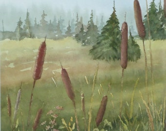 Cattails, Original Watercolor, Prints Available, 5x7 print with 8x10 matching mat. 20.00 each, Includes tax,shipping and handling.