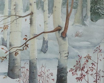 Birch in Snow, Original Watercolor, Prints Available, 5x7 print with 8x10 matching mat. 20.00 each, Includes tax,shipping and handling.