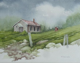 First Home, Original Watercolor, Prints Available, 5x7 print with 8x10 matching mat. 20.00 each, Includes tax,shipping and handling.