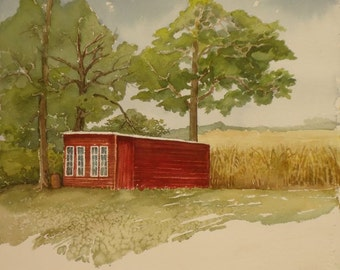 Chicken Coop, Original Watercolor, Prints Available, 5x7 print with 8x10 matching mat. 20.00 each, Includes tax,shipping and handling.