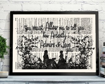 Jane Austen, Pride and Prejudice, Literary Quotes, Jane Austen Quote, Literary Gift Print, Mr. Darcy