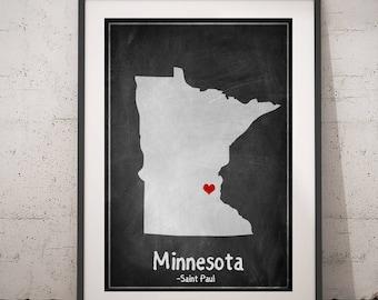 Minnesota Print, Minnesota Gift, Chalkboard Print, Minnesota Map Art, Minnesota Wall Art, USA Map Print