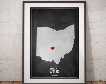 Ohio Map Print, Ohio Wall Art, Ohio Print, Ohio Gift, Chalkboard Print, Personalized Gift Print, USA Map State