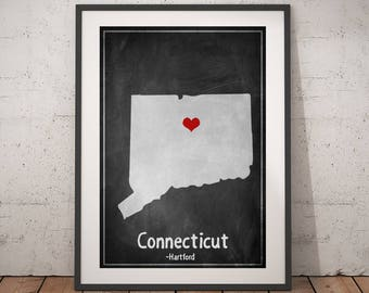 Connecticut Map Print, Connecticut State Print, Personalized Art Print, Chalkboard Art, Family Gift