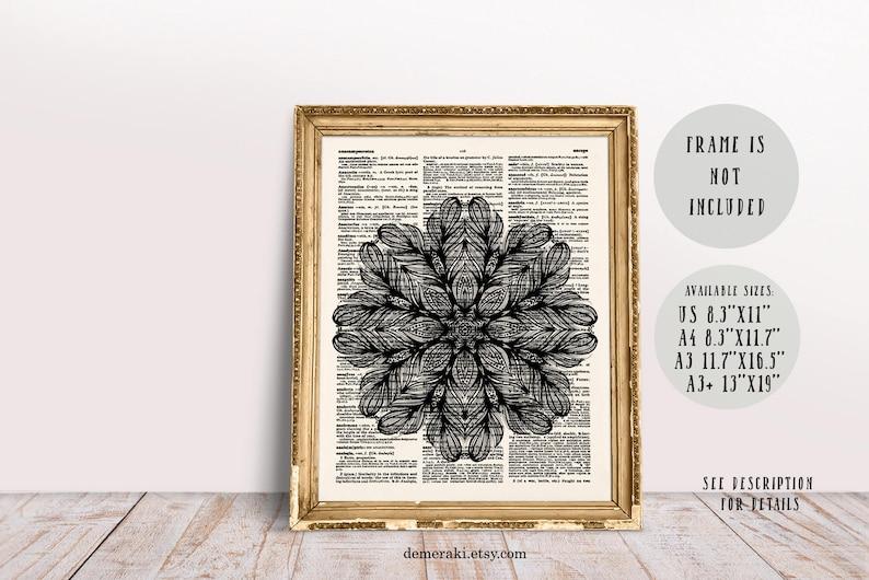 Black Mandala Lotus Flower Sacred Geometry Yoga Wall Art Etsy