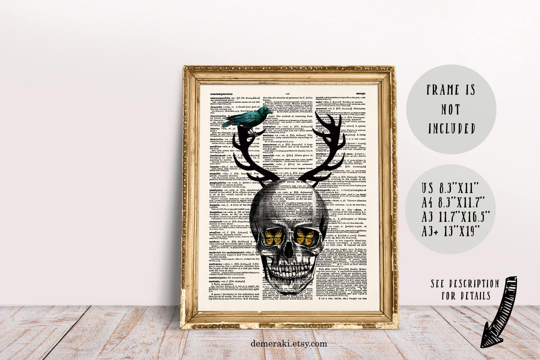Horror Art Dictionary Art Skull Decor Gothic Home Decor