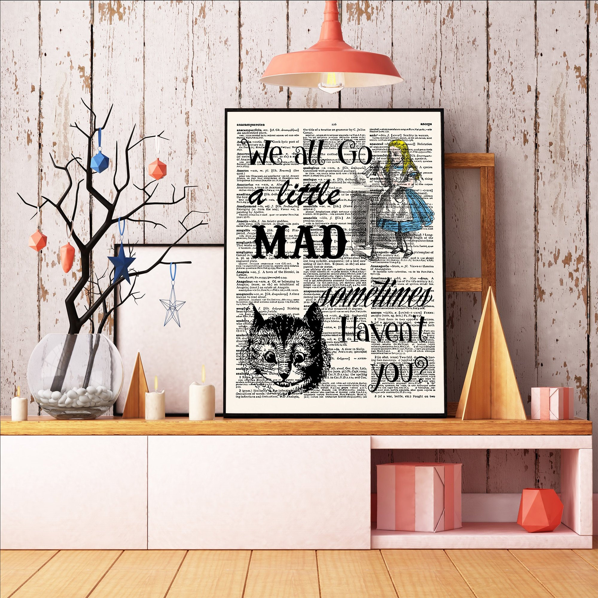 Literary Quote Gift Alice In Wonderland We Re All Mad Etsy