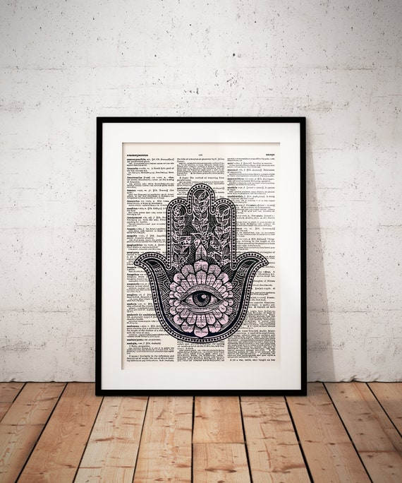 Hamsa Hand Watercolor Print Evil Eye Wall Art Poster Wedding Gift Wall Decor