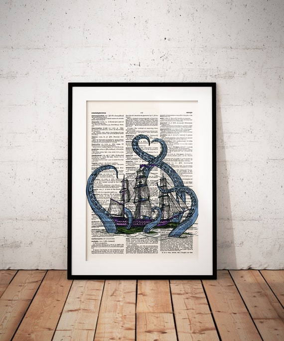 Octopus Attacking Ship Dictionary Art Print Picture Ocean Vintage Boat Poster
