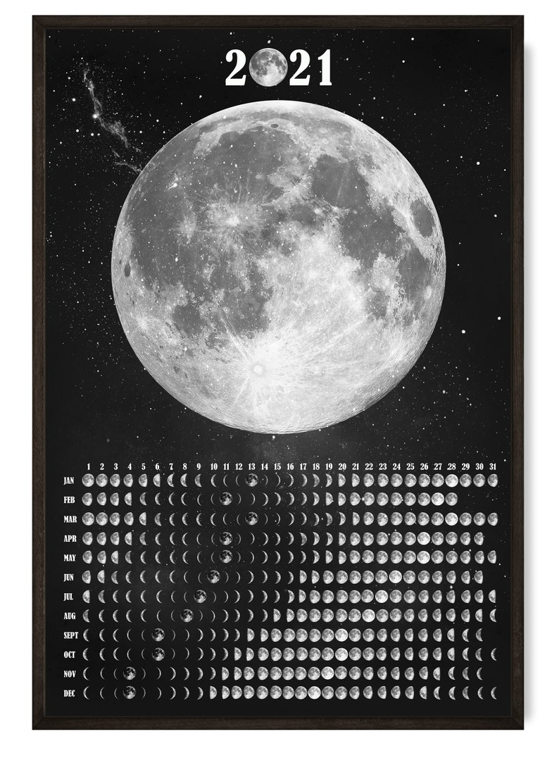 Moon Phases Wall Calendar 2021 Lunar Calendar Moon Phase ...