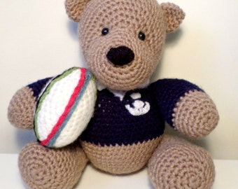 Crochet Scottish Rugby Teddy Bear handmade just for you.