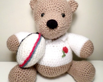 Crochet England Rugby Teddy Bear handmade just for you.