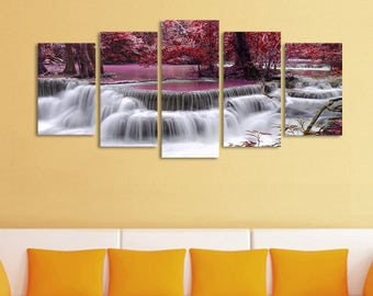 Wall art canvas Waterfall Painting Home Decoration For Living Room. Unframed