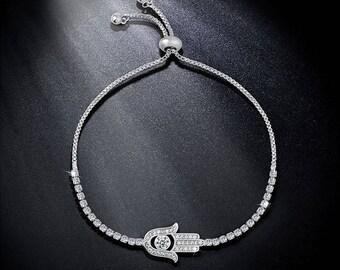 Paved Zircon Hamsa Bracelet Silver Charm Bracelet Hand of Fatima Adjustable