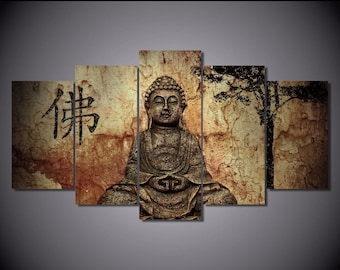Wall canvas painting Buddha 5 pieces framed.