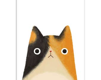 Original Wall Art Canvas Painting Watercolor tryptic Cute Japanese Cat by Inucko. 3 pcs. No Frame