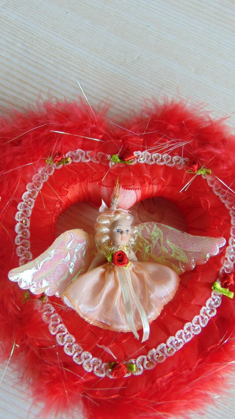 Red Wreath with  angel Wedding Wreath Heart Wreath ON SALE Vintage Romantic Heart Wreath Mother/'s Day Wreath