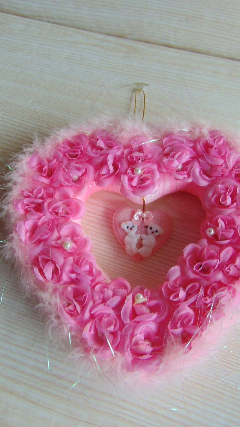 Wedding Wreath ON SALE Vintage Romantic Heart Wreath Pink Wreath Mother/'s Day Wreath Heart Wreath