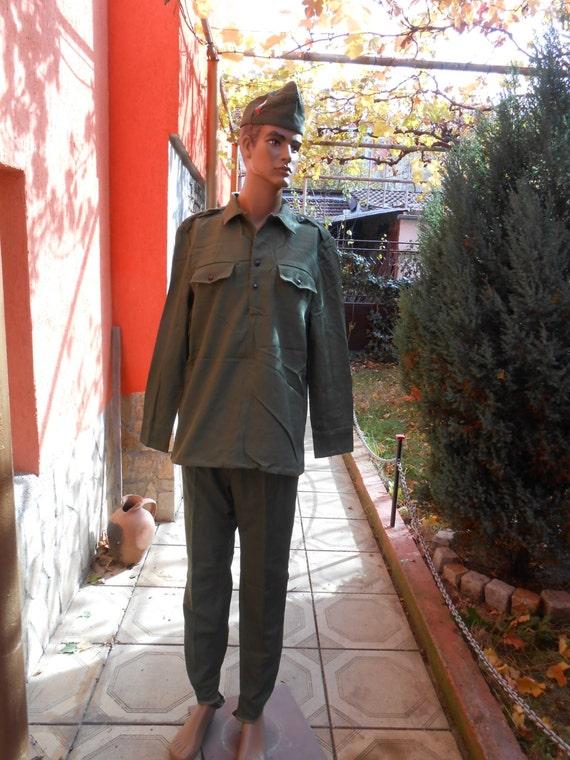 Vintage Green Military Canvas Uniform,  Bulgarian