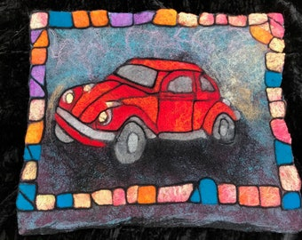 Stained Glass VW Suncatcher Classic Car Beetle Suncatcher Hippie Love Bug Vintage Retro Blue Dad Birthday Route 66 Original Design\u00a9