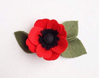Red Poppy Flower Headband or Hair Clip | Poppy Felt Flower Hair Clip or Headband