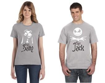 Disney Couple Shirts Nightmare Before Christmas Jack Skellington and Sally