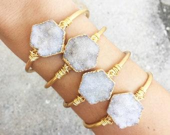 Angel Aura Hexagon Cuff Bracelet   Druzy Bracelet   Druzy Cuff  