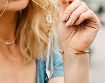 See Through The Sky Point Necklace, iridescent, moon and star, gypset, boho necklace, long layer necklace