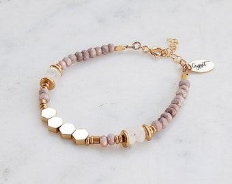 Hexagon Beaded Gemstone Bracelet, lavender beaded, moonstone, gypsetco, gypset bracelet