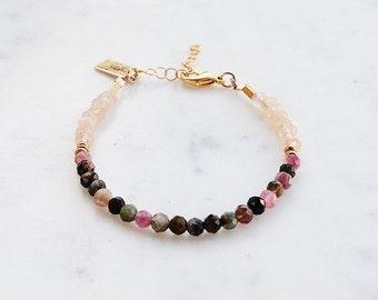 Watermelon Tourmaline Beaded Gemstone Bracelet, champagne jade, gypset, gypset jewelry, gemstone bracelet, bridesmaid jewelry