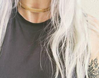 Fishbone Choker Necklace, gold choker, dainty choker, chevron choker