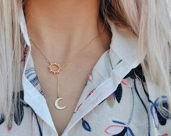 Sun Drop Necklace, moon drop, crystal drop, boho necklace, gold necklace, celestial necklace, gypset necklace