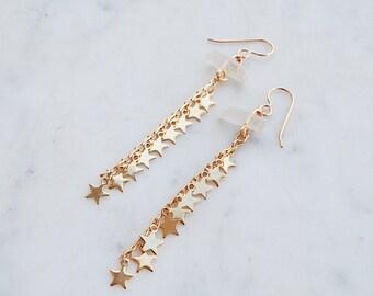 Crystal Waterfalls Dangle Earrings, star earrings, crystal earrings, dangle earrings, gypset, gypsetco