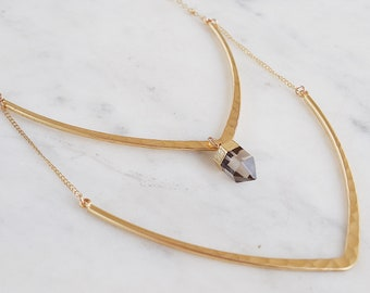 Double Point Bar Necklace, geometric necklace, spike necklace, quartz, boho necklace, nomad necklace, gypsetco