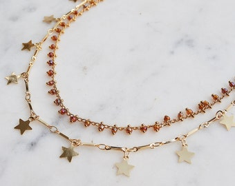 Shiny Star Choker Set, rosary necklace, gold stars, agate, gypset, boho necklace, double layer necklace, double choker,