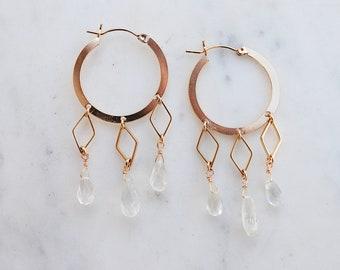 Aquamarine Geometric Drop Hoop Earrings, teardrop, gemstone, geometric earrings, hoop earrings, gypsetco, gypset jewelry