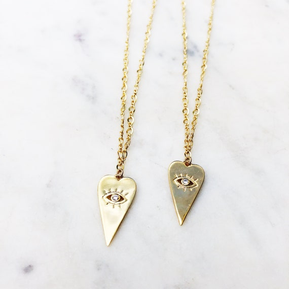 Heart Eye Stamp Coin Necklace 14k Gold Fill Simple