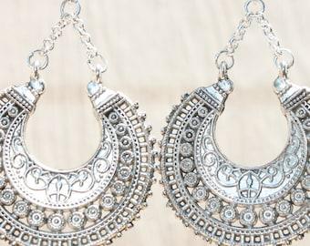 4b9683054 Dark Silver Boho Earrings Bohemian Earrings Boho Jewelry Chic Gypsy Ethnic Silver  Earrings Bohemian Jewelry Gift for women Gift For Her